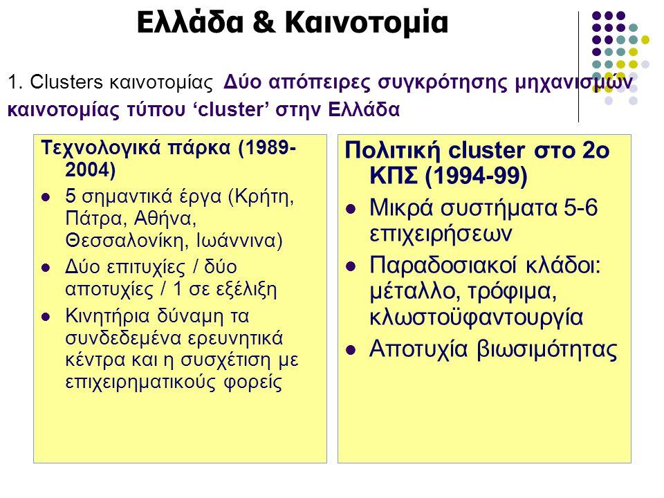 Τεχνολογικά πάρκα (1989- 2004)  5 σημαντικά έργα (Κρήτη, Πάτρα, Αθήνα, Θεσσαλονίκη, Ιωάννινα)  Δύο επιτυχίες / δύο αποτυχίες / 1 σε εξέλιξη  Κινητή