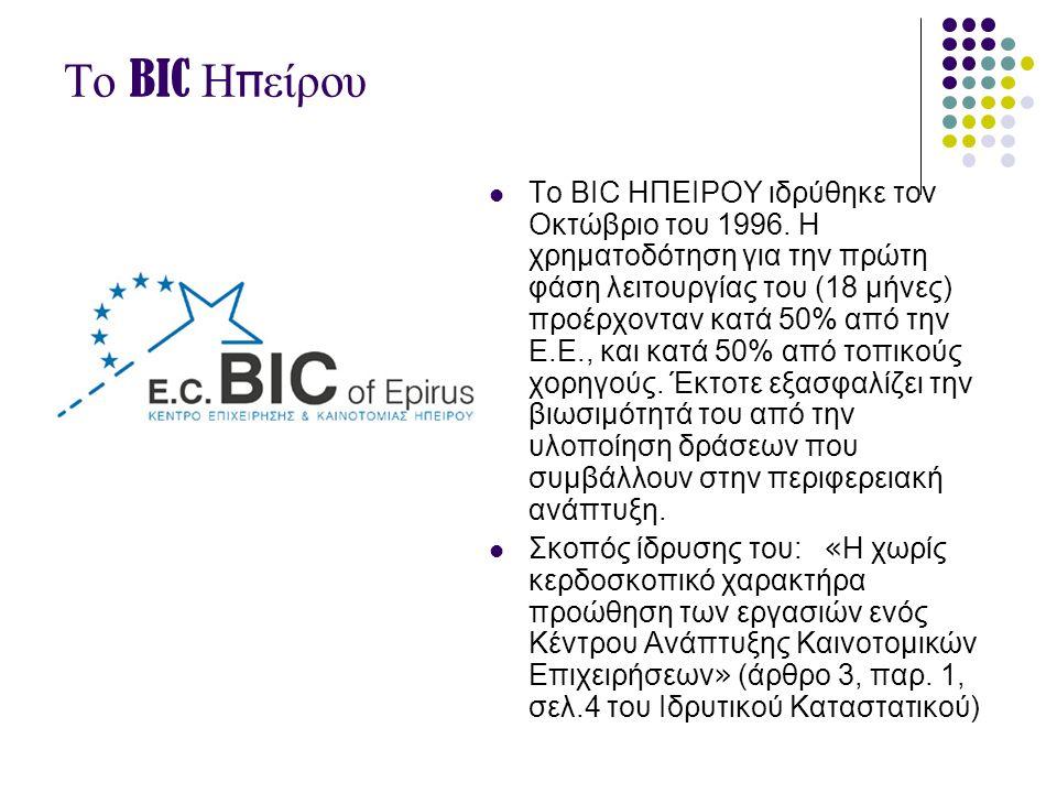 Το BIC Η π είρου  Το BIC ΗΠΕΙΡΟΥ ιδρύθηκε τον Οκτώβριο του 1996. Η χρηματοδότηση για την πρώτη φάση λειτουργίας του (18 μήνες) προέρχονταν κατά 50% α