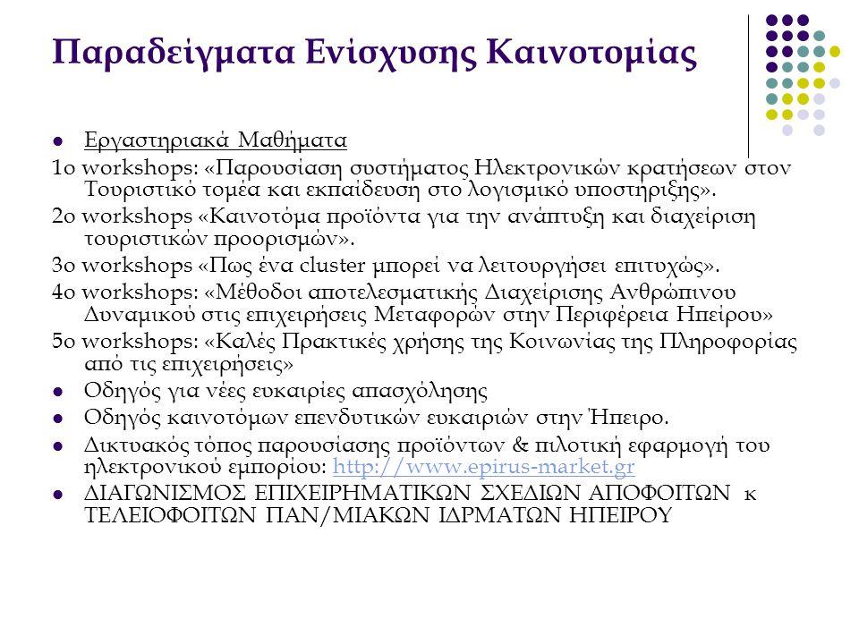 Παραδείγματα Ενίσχυσης Καινοτομίας  Εργαστηριακά Μαθήματα 1ο workshops: «Παρουσίαση συστήματος Ηλεκτρονικών κρατήσεων στον Τουριστικό τομέα και εκπαί