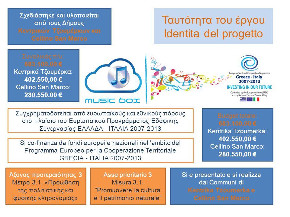 Ταυτότητα του έργου Identita del progetto Σχεδιάστηκε και υλοποιείται από τους Δήμους Κεντρικών Τζουμέρκων και Cellino San Marco Si e presentato e si