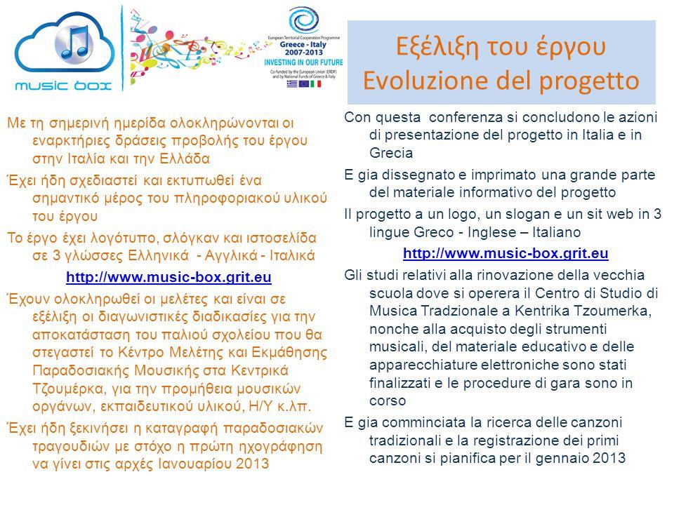Εξέλιξη του έργου Evoluzione del progetto Με τη σημερινή ημερίδα ολοκληρώνονται οι εναρκτήριες δράσεις προβολής του έργου στην Ιταλία και την Ελλάδα Έ
