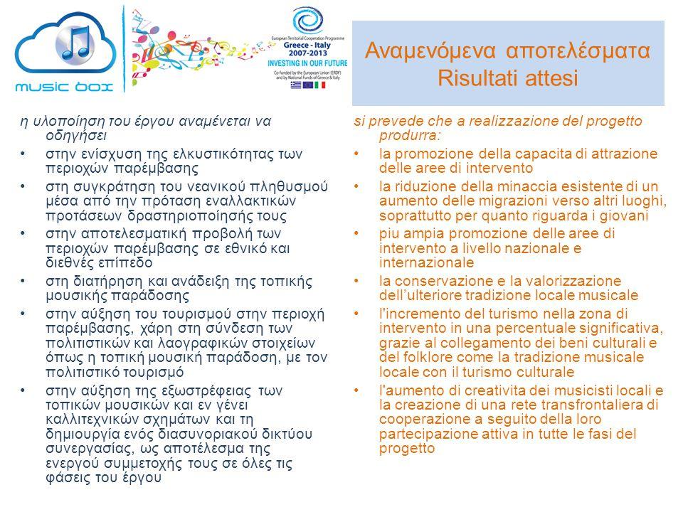 Αναμενόμενα αποτελέσματα Risultati attesi η υλοποίηση του έργου αναμένεται να οδηγήσει •στην ενίσχυση της ελκυστικότητας των περιοχών παρέμβασης •στη