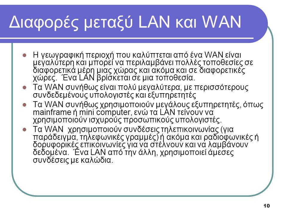 10 Διαφορές μεταξύ LAN και WAN  Η γεωγραφική περιοχή που καλύπτεται από ένα WAN είναι μεγαλύτερη και μπορεί να περιλαμβάνει πολλές τοποθεσίες σε διαφ