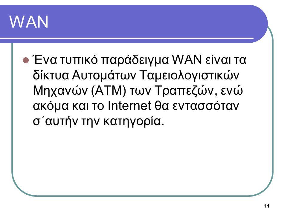 11 WAN  Ένα τυπικό παράδειγμα WAN είναι τα δίκτυα Αυτομάτων Ταμειολογιστικών Μηχανών (ΑΤΜ) των Τραπεζών, ενώ ακόμα και το Internet θα εντασσόταν σ΄αυ