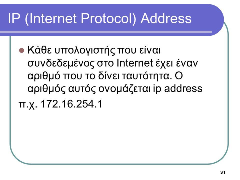 31 IP (Internet Protocol) Address  Κάθε υπολογιστής που είναι συνδεδεμένος στο Internet έχει έναν αριθμό που το δίνει ταυτότητα. Ο αριθμός αυτός ονομ