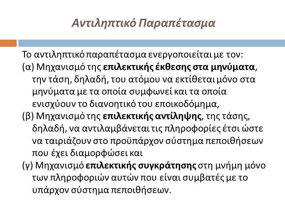 Αντιληπτικό Παραπέτασμα Το αντιληπτικό παραπέτασμα ενεργοποιείται με τον : ( α ) Μηχανισμό της επιλεκτικής έκθεσης στα μηνύματα, την τάση, δηλαδή, του