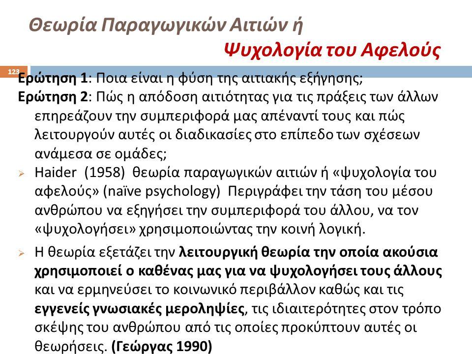 Θεωρία Παραγωγικών Αιτιών ή Ψυχολογία του Αφελούς Ερώτηση 1: Ποια είναι η φύση της αιτιακής εξήγησης ; Ερώτηση 2: Πώς η απόδοση αιτιότητας για τις πρά