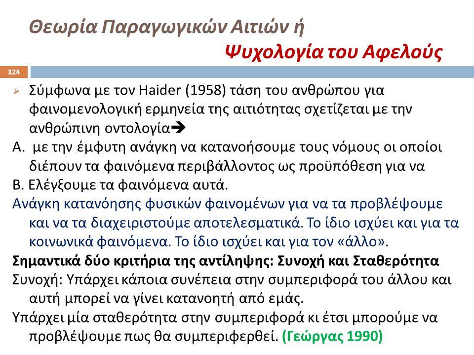 Θεωρία Παραγωγικών Αιτιών ή Ψυχολογία του Αφελούς  Σύμφωνα με τον Haider (1958) τάση του ανθρώπου για φαινομενολογική ερμηνεία της αιτιότητας σχετίζε