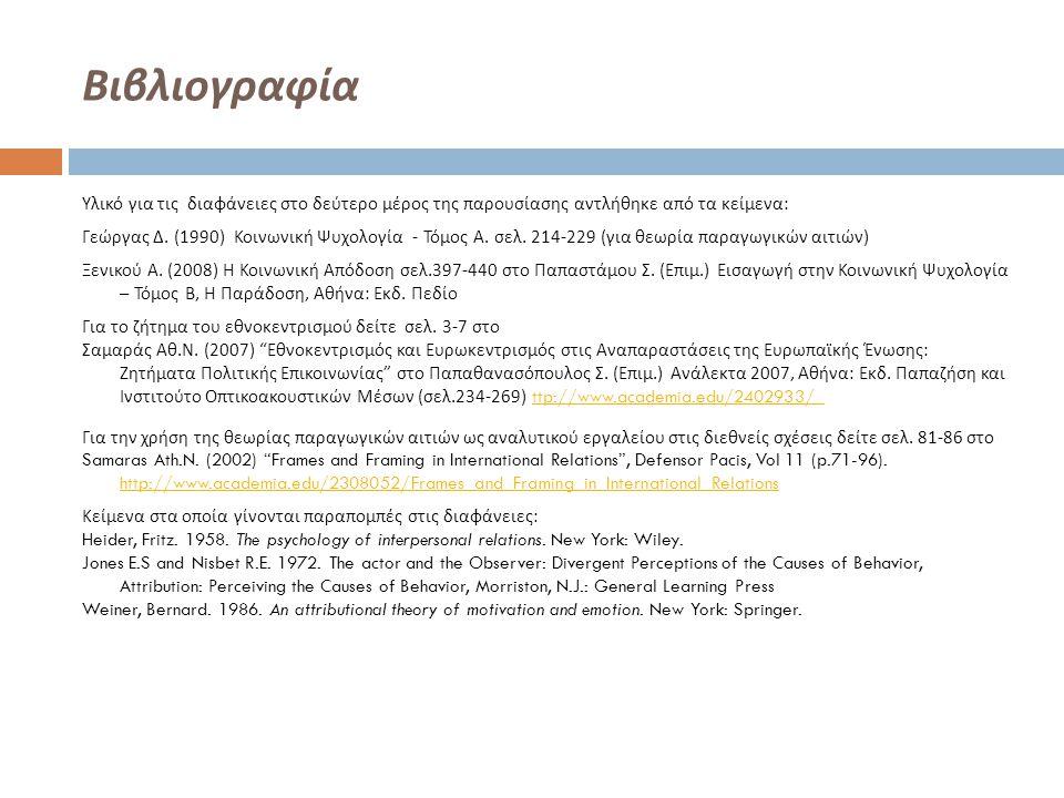 Βιβλιογραφία Υλικό για τις διαφάνειες στο δεύτερο μέρος της παρουσίασης αντλήθηκε από τα κείμενα : Γεώργας Δ. (1990) Κοινωνική Ψυχολογία - Τόμος Α. σε