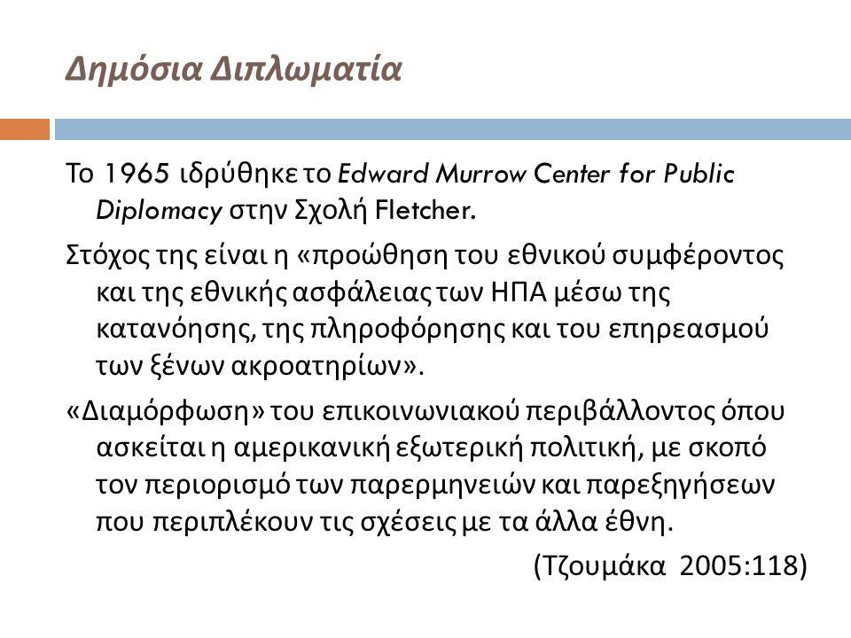 Δημόσια Διπλωματία Το 1965 ιδρύθηκε το Edward Murrow Center for Public Diplomacy στην Σχολή Fletcher. Στόχος της είναι η « προώθηση του εθνικού συμφέρ