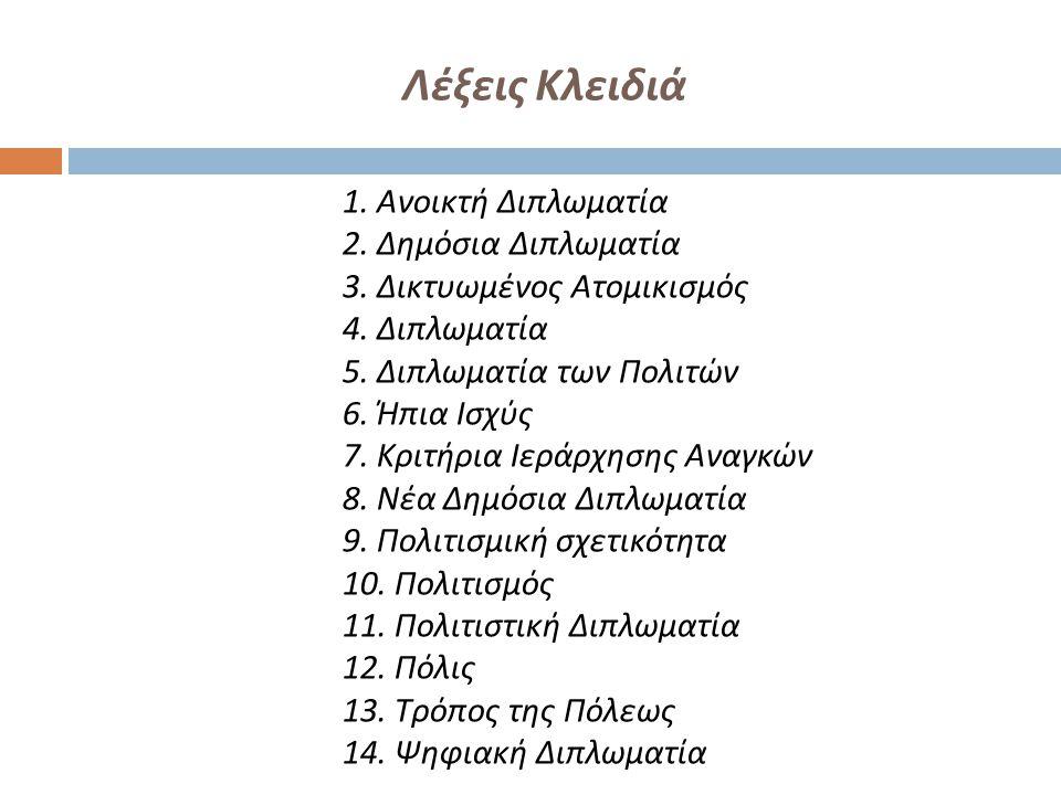 Λέξεις Κλειδιά 1. Ανοικτή Διπλωματία 2. Δημόσια Διπλωματία 3. Δικτυωμένος Ατομικισμός 4. Διπλωματία 5. Διπλωματία των Πολιτών 6. Ήπια Ισχύς 7. Κριτήρι