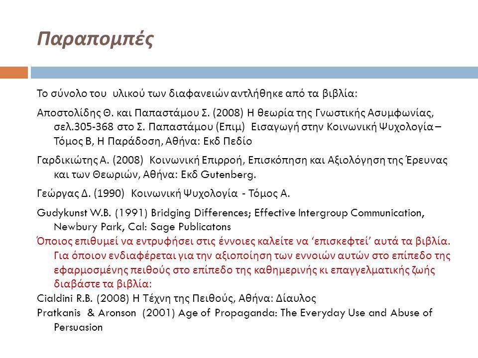 Παραπομπές Το σύνολο του υλικού των διαφανειών αντλήθηκε από τα βιβλία : Αποστολίδης Θ. και Παπαστάμου Σ. (2008) Η θεωρία της Γνωστικής Ασυμφωνίας, σε