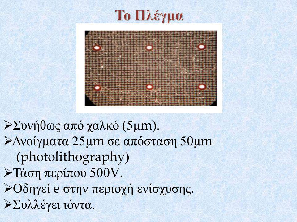  Συνήθως από χαλκό (5 μ m).  Ανοίγματα 25 μ m σε απόσταση 50 μ m (photolithography)  Τάση περίπου 500V.  Οδηγεί e στην περιοχή ενίσχυσης.  Συλλέγ