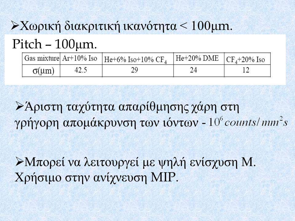  Χωρική διακριτική ικανότητα < 100 μ m. Pitch – 100 μ m.  Άριστη ταχύτητα απαρίθμησης χάρη στη γρήγορη απομάκρυνση των ιόντων -  Μπορεί να λειτουργ