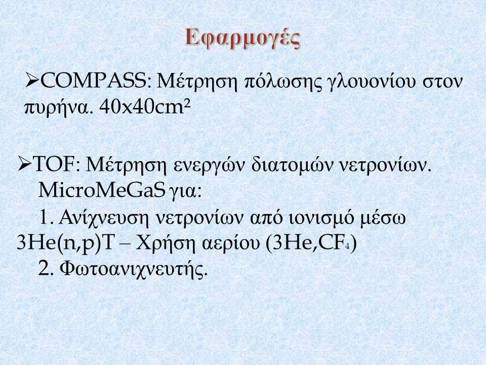  COMPASS: Μέτρηση πόλωσης γλουονίου στον πυρήνα. 40x40cm²  TOF: Μέτρηση ενεργών διατομών νετρονίων. MicroMeGaS για : 1. Ανίχνευση νετρονίων από ιονι