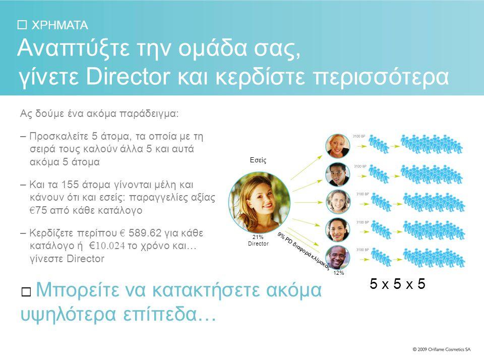 ΧΡΗΜΑΤΑ Ας δούμε ένα ακόμα παράδειγμα: – Προσκαλείτε 5 άτομα, τα οποία με τη σειρά τους καλούν άλλα 5 και αυτά ακόμα 5 άτομα – Και τα 155 άτομα γίνονται μέλη και κάνουν ότι και εσείς: παραγγελίες αξίας € 75 από κάθε κατάλογο – Κερδίζετε περίπου € 589.62 για κάθε κατάλογο ή € 10.024 το χρόνο και… γίνεστε Director Αναπτύξτε την ομάδα σας, γίνετε Director και κερδίστε περισσότερα Μπορείτε να κατακτήσετε ακόμα υψηλότερα επίπεδα… 5 x 5 x 5 Εσείς 21% Director 9% PD διαφορά κλίμακας 12%