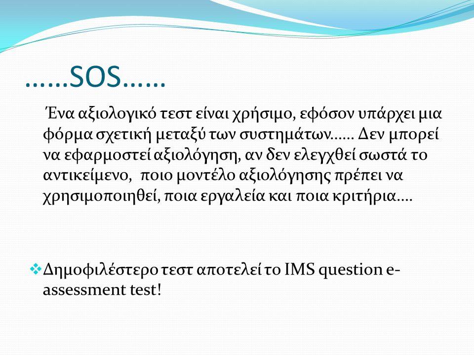 ……SOS…… Ένα αξιολογικό τεστ είναι χρήσιμο, εφόσον υπάρχει μια φόρμα σχετική μεταξύ των συστημάτων…… Δεν μπορεί να εφαρμοστεί αξιολόγηση, αν δεν ελεγχθ