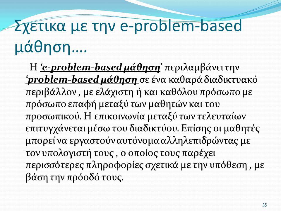 Σχετικα με την e-problem-based μάθηση…. Η 'e-problem-based μάθηση' περιλαμβάνει την 'problem-based μάθηση σε ένα καθαρά διαδικτυακό περιβάλλον, με ελά