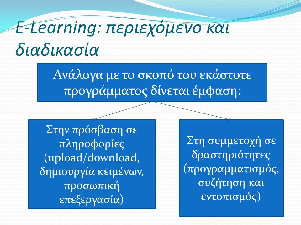 E-Learning: περιεχόμενο και διαδικασία Ανάλογα με το σκοπό του εκάστοτε προγράμματος δίνεται έμφαση: Στην πρόσβαση σε πληροφορίες (upload/download, δη