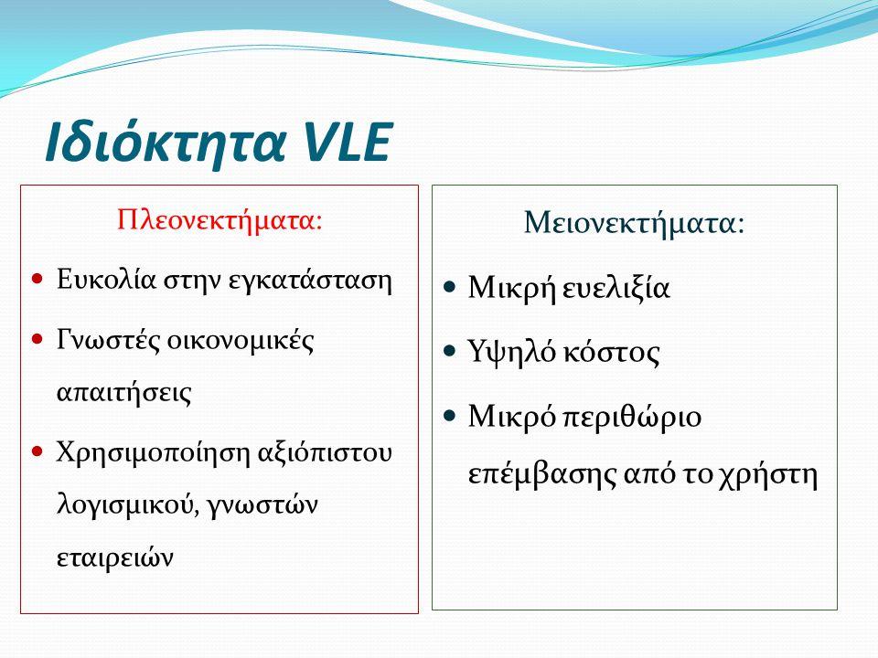 Ιδιόκτητα VLE Πλεονεκτήματα:  Ευκολία στην εγκατάσταση  Γνωστές οικονομικές απαιτήσεις  Χρησιμοποίηση αξιόπιστου λογισμικού, γνωστών εταιρειών Μειο