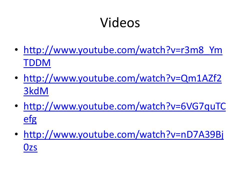 Videos • http://www.youtube.com/watch?v=r3m8_Ym TDDM http://www.youtube.com/watch?v=r3m8_Ym TDDM • http://www.youtube.com/watch?v=Qm1AZf2 3kdM http://www.youtube.com/watch?v=Qm1AZf2 3kdM • http://www.youtube.com/watch?v=6VG7quTC efg http://www.youtube.com/watch?v=6VG7quTC efg • http://www.youtube.com/watch?v=nD7A39Bj 0zs http://www.youtube.com/watch?v=nD7A39Bj 0zs