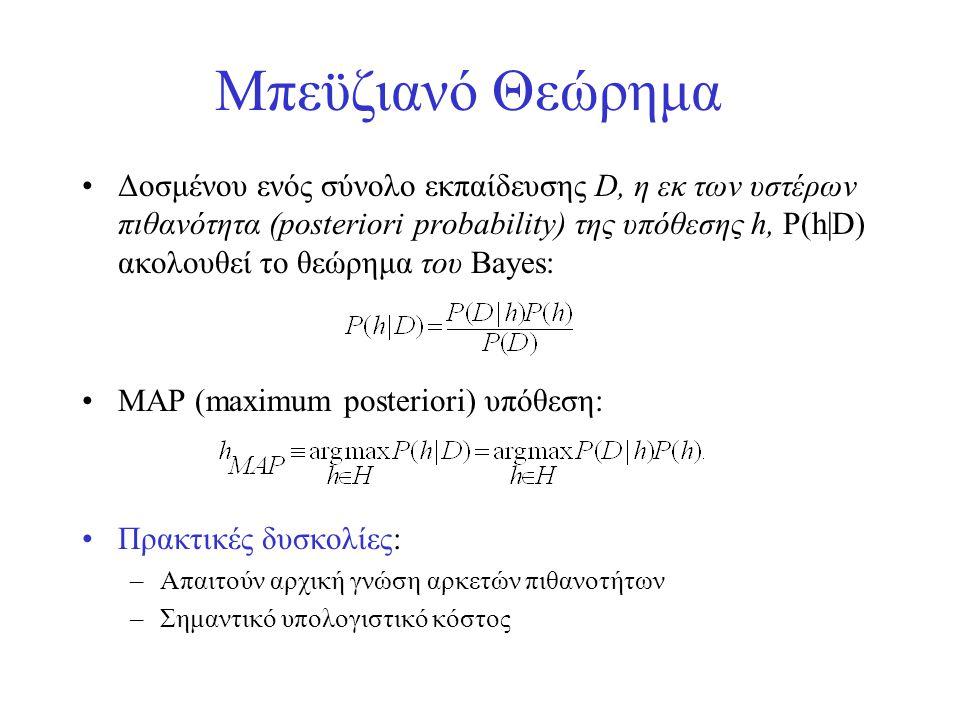 Μπεϋζιανό Θεώρημα •Δοσμένου ενός σύνολο εκπαίδευσης D, η εκ των υστέρων πιθανότητα (posteriori probability) της υπόθεσης h, P(h|D) ακολουθεί το θεώρημ