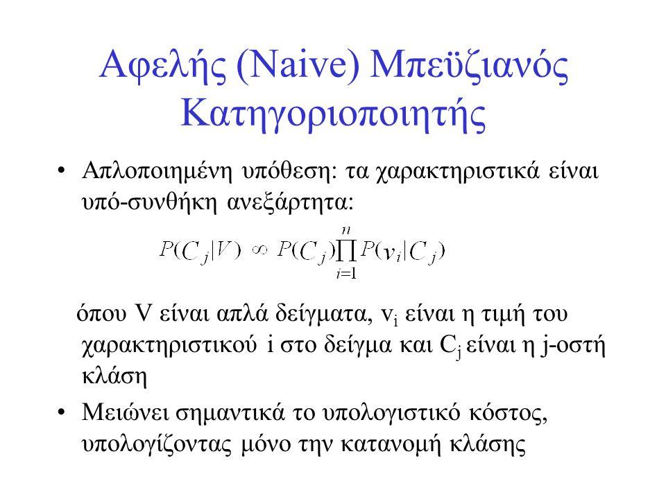 Αφελής (Naive) Μπεϋζιανός Κατηγοριοποιητής •Απλοποιημένη υπόθεση: τα χαρακτηριστικά είναι υπό-συνθήκη ανεξάρτητα: όπου V είναι απλά δείγματα, v i είνα