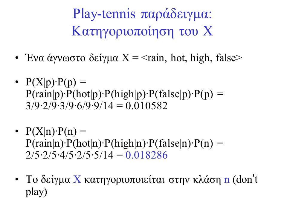 Play-tennis παράδειγμα: Κατηγοριοποίηση του X •Ένα άγνωστο δείγμα X = •P(X|p)·P(p) = P(rain|p)·P(hot|p)·P(high|p)·P(false|p)·P(p) = 3/9·2/9·3/9·6/9·9/