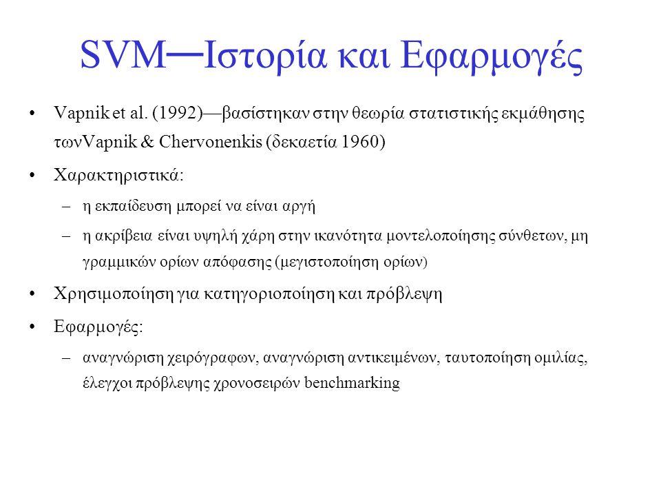 SVM — Ιστορία και Εφαρμογές •Vapnik et al. (1992)—βασίστηκαν στην θεωρία στατιστικής εκμάθησης τωνVapnik & Chervonenkis (δεκαετία 1960) •Χαρακτηριστικ