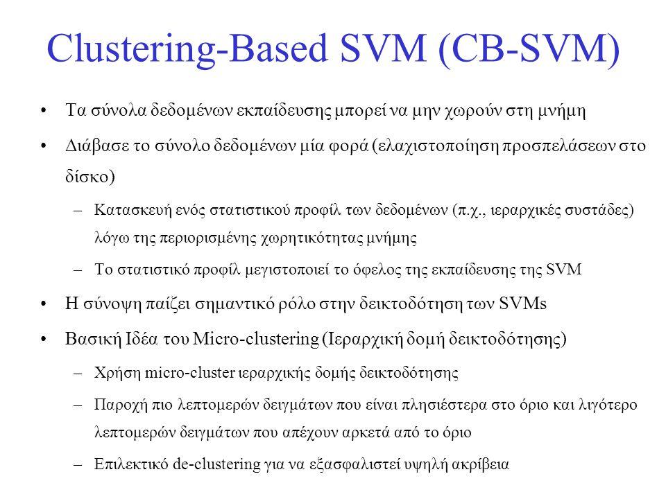 Clustering-Based SVM (CB-SVM) •Τα σύνολα δεδομένων εκπαίδευσης μπορεί να μην χωρούν στη μνήμη •Διάβασε το σύνολο δεδομένων μία φορά (ελαχιστοποίηση πρ