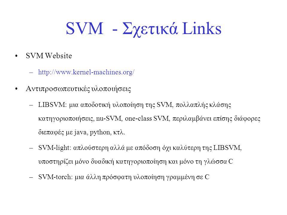 SVM - Σχετικά Links •SVM Website –http://www.kernel-machines.org/ •Αντιπροσωπευτικές υλοποιήσεις –LIBSVM: μια αποδοτική υλοποίηση της SVM, πολλαπλής κ