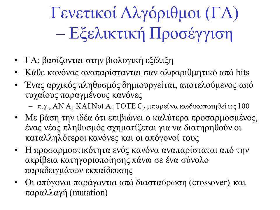 Γενετικοί Αλγόριθμοι (ΓΑ) – Εξελικτική Προσέγγιση •ΓΑ: βασίζονται στην βιολογική εξέλιξη •Κάθε κανόνας αναπαρίστανται σαν αλφαριθμητικό από bits •Ένας