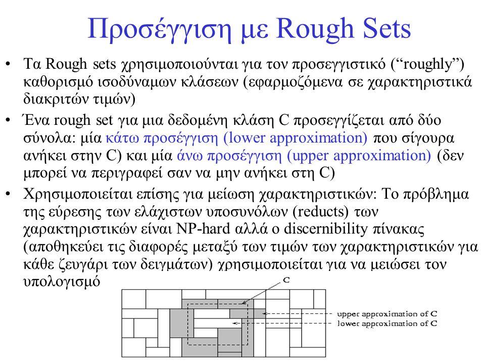 """Προσέγγιση με Rough Sets •Τα Rough sets χρησιμοποιούνται για τον προσεγγιστικό (""""roughly"""") καθορισμό ισοδύναμων κλάσεων (εφαρμοζόμενα σε χαρακτηριστικ"""