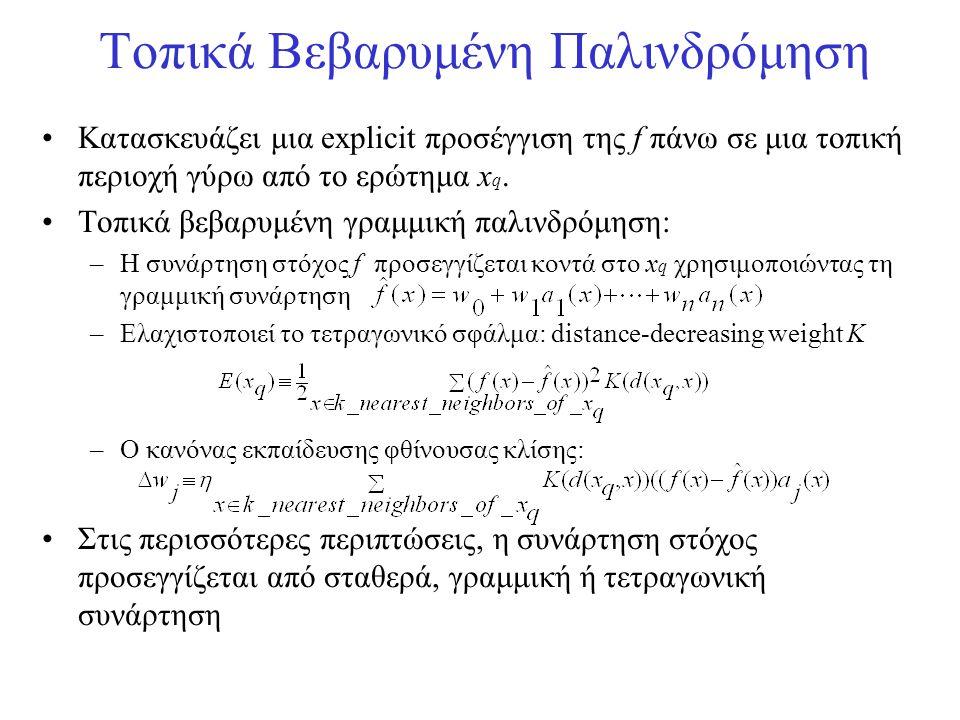 Τοπικά Βεβαρυμένη Παλινδρόμηση •Κατασκευάζει μια explicit προσέγγιση της f πάνω σε μια τοπική περιοχή γύρω από το ερώτημα x q. •Τοπικά βεβαρυμένη γραμ