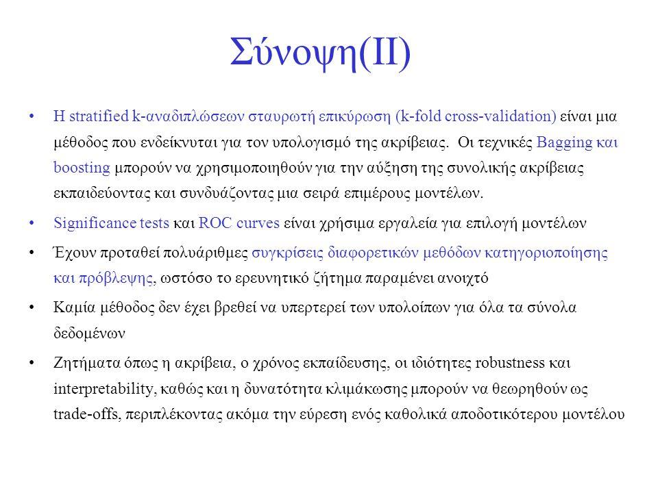 Σύνοψη(II) •Η stratified k-αναδιπλώσεων σταυρωτή επικύρωση (k-fold cross-validation) είναι μια μέθοδος που ενδείκνυται για τον υπολογισμό της ακρίβεια