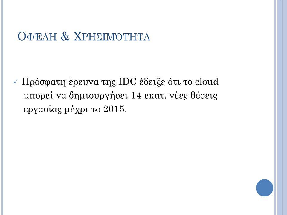 Ο ΦΈΛΗ & Χ ΡΗΣΙΜΌΤΗΤΑ  Πρόσφατη έρευνα της IDC έδειξε ότι το cloud μπορεί να δημιουργήσει 14 εκατ. νέες θέσεις εργασίας μέχρι το 2015.