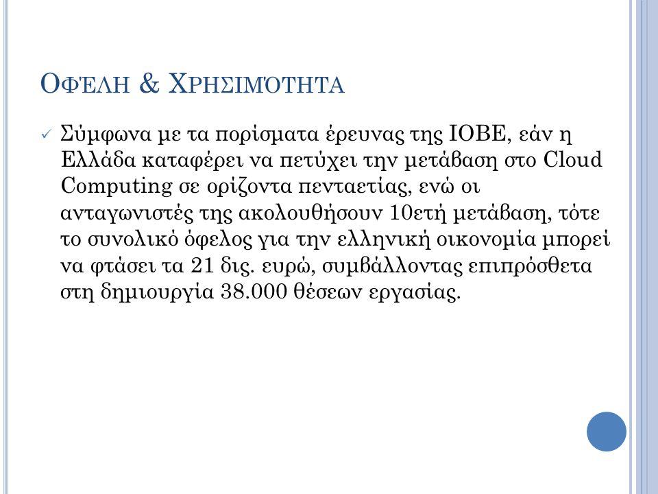 Ο ΦΈΛΗ & Χ ΡΗΣΙΜΌΤΗΤΑ  Σύμφωνα με τα πορίσματα έρευνας της ΙΟΒΕ, εάν η Ελλάδα καταφέρει να πετύχει την μετάβαση στο Cloud Computing σε ορίζοντα πεντα