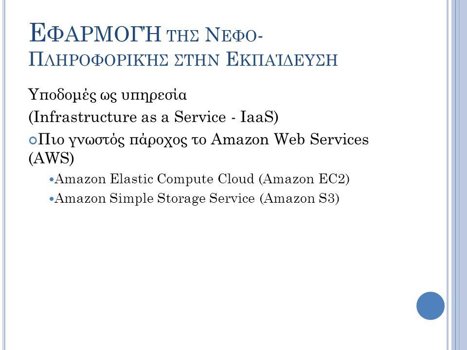 Ε ΦΑΡΜΟΓΉ ΤΗΣ Ν ΕΦΟ - Π ΛΗΡΟΦΟΡΙΚΉΣ ΣΤΗΝ Ε ΚΠΑΊΔΕΥΣΗ Υποδομές ως υπηρεσία (Infrastructure as a Service - IaaS) Πιο γνωστός πάροχος το Amazon Web Servi