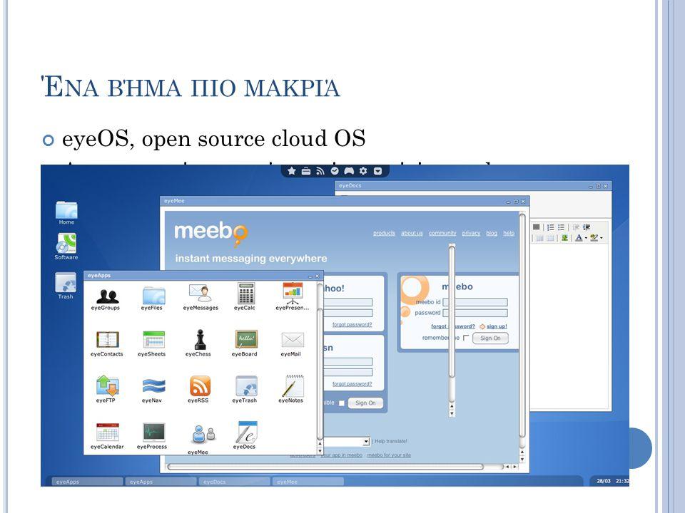 Έ ΝΑ ΒΉΜΑ ΠΙΟ ΜΑΚΡΙΆ eyeOS, open source cloud OS Λειτουργικό που τρέχει μέσα από ένα web browser οπουδήποτε υπάρχει σύνδεση internet Απλό και ελεγχόμε