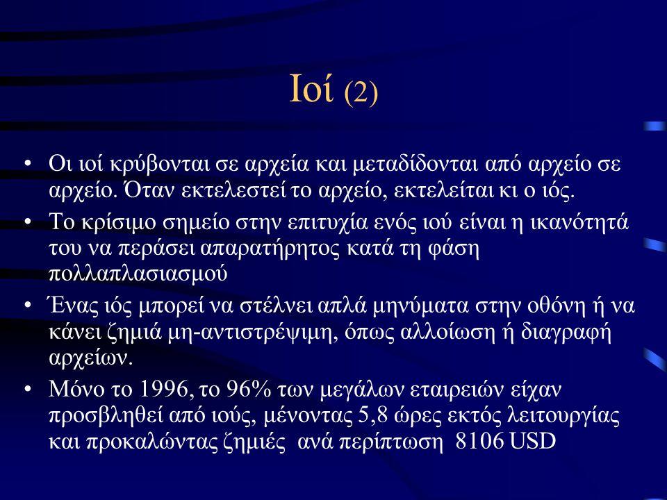 Ιοί (2) •Οι ιοί κρύβονται σε αρχεία και μεταδίδονται από αρχείο σε αρχείο.