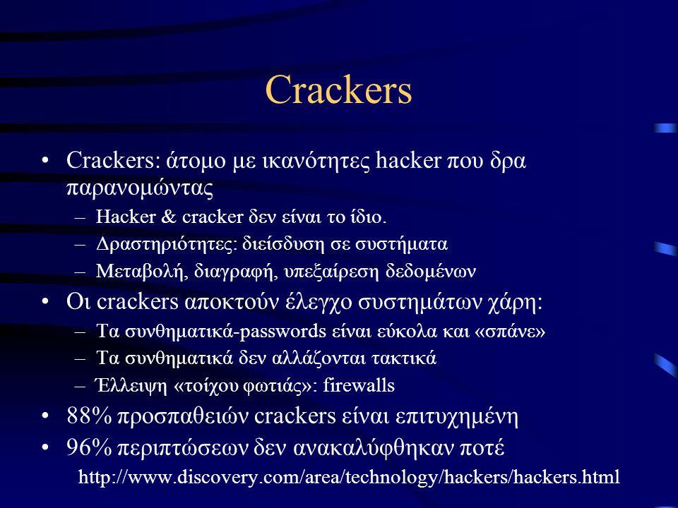 Crackers •Crackers: άτομο με ικανότητες hacker που δρα παρανομώντας –Hacker & cracker δεν είναι το ίδιο.