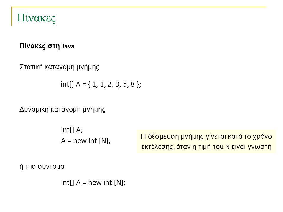 Πίνακες Πίνακες στη Java int[] A = { 1, 1, 2, 0, 5, 8 }; Στατική κατανομή μνήμης Δυναμική κατανομή μνήμης int[] A; Α = new int [N]; ή πιο σύντομα int[] A = new int [N]; Η δέσμευση μνήμης γίνεται κατά το χρόνο εκτέλεσης, όταν η τιμή του N είναι γνωστή Τι γίνεται αν δε γνωρίζουμε ποια τιμή του N είναι κατάλληλη για το πρόγραμμά μας;