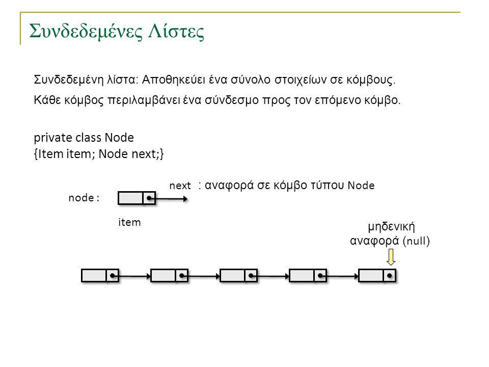 Λύση στο πρόβλημα του Josephus με πρόγραμμα-πελάτη class Josephus { public static main(String[] args) { int N = Integer.parseInt(args[0]); int M = Integer.parseInt(args[1]); CircularList L = new CircularList(); CircularList.Node x = null; for (int i=1; i<=N; i++) x = L.insert(x,i); while (x != L.next(x)) { for (int i=1; i<M; i++) x=L.next(x); L.remove(x); } System.out.println( Winner is + L.item(x)); }
