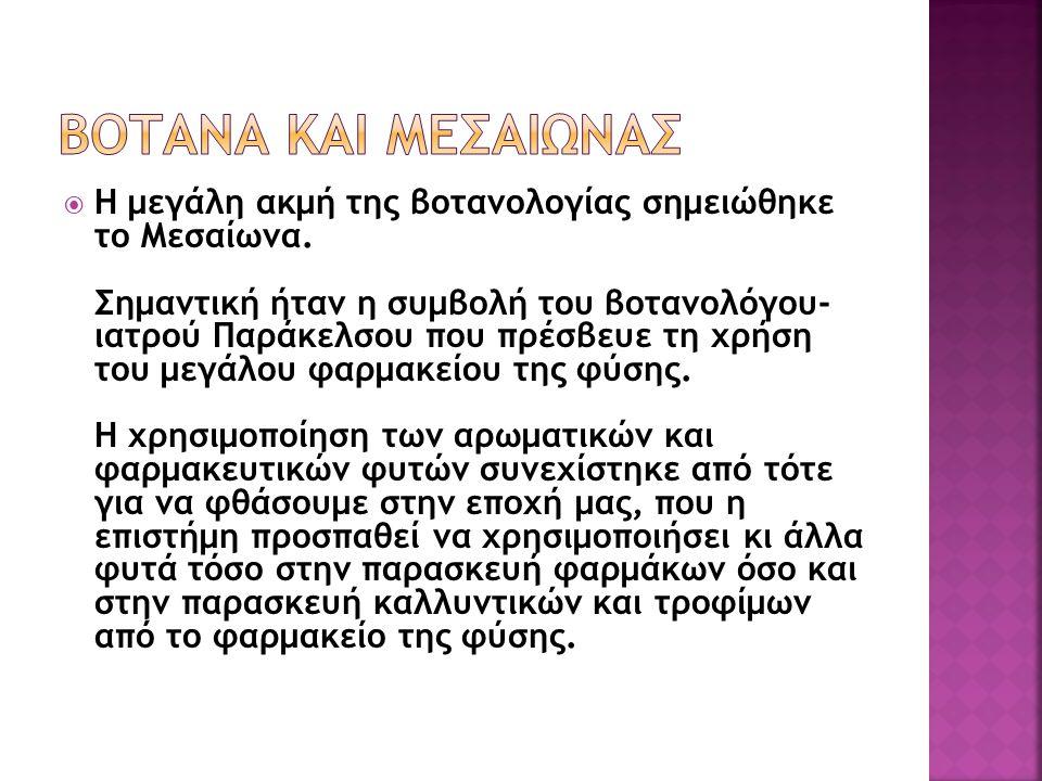  Στη Βυζαντινή εποχή σε συγγράμματα συναντάμε πολλά απ τα σημερινά βότανα όπως τη μολόχα, το κόλιανδρο, το κάρδαμο και άλλα.