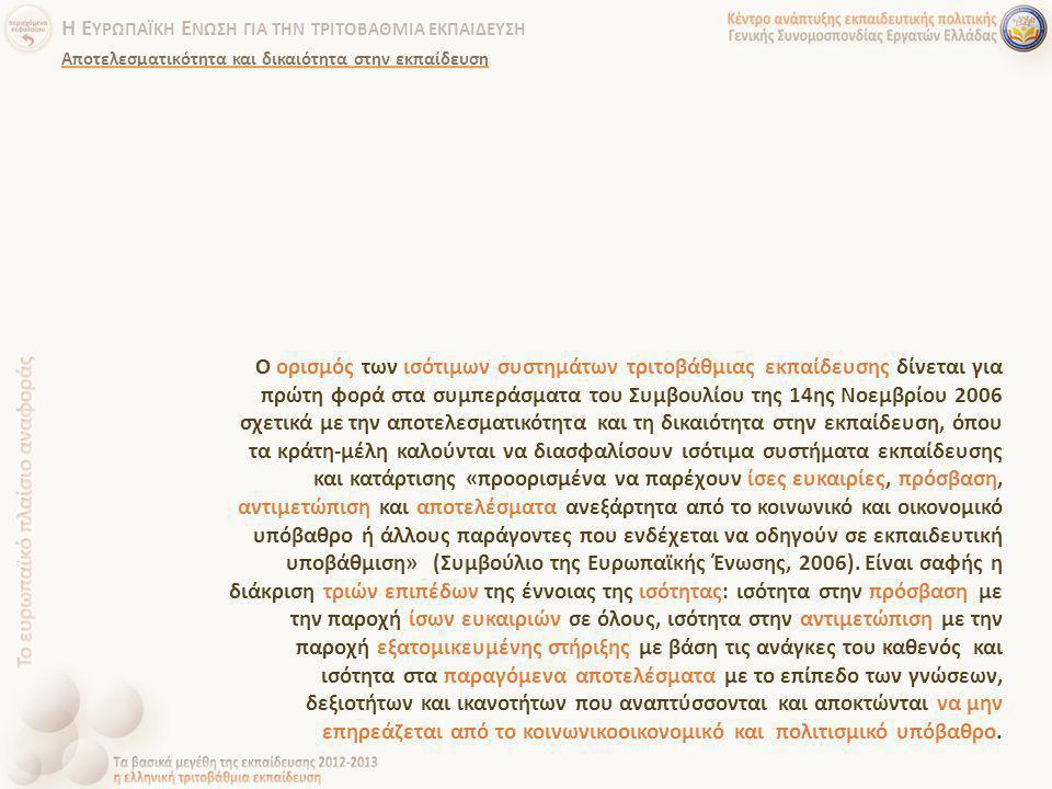 Ο ορισμός των ισότιμων συστημάτων τριτοβάθμιας εκπαίδευσης δίνεται για πρώτη φορά στα συμπεράσματα του Συμβουλίου της 14ης Νοεμβρίου 2006 σχετικά με τ