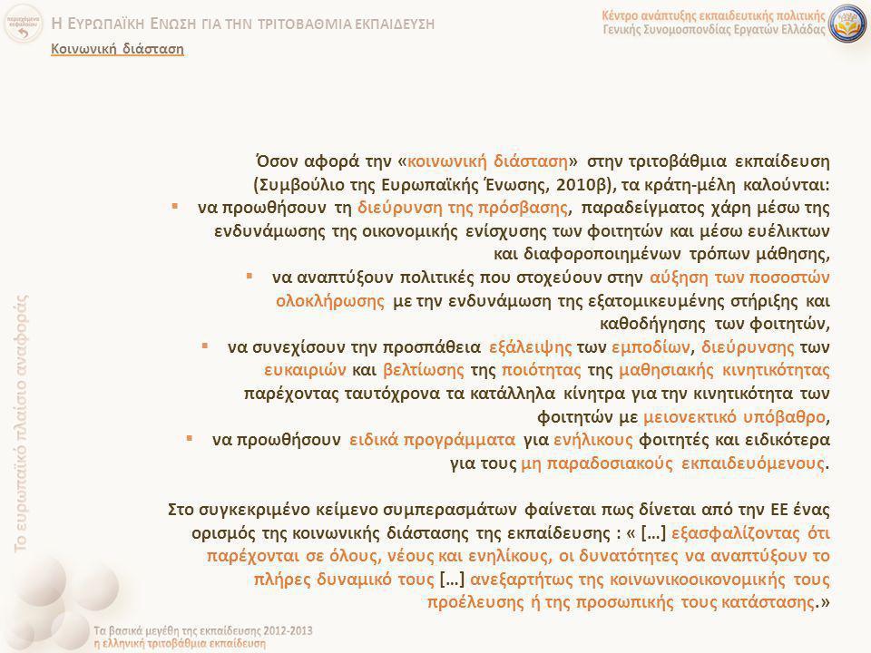 Όσον αφορά την «κοινωνική διάσταση» στην τριτοβάθμια εκπαίδευση (Συμβούλιο της Ευρωπαϊκής Ένωσης, 2010β), τα κράτη-μέλη καλούνται:  να προωθήσουν τη