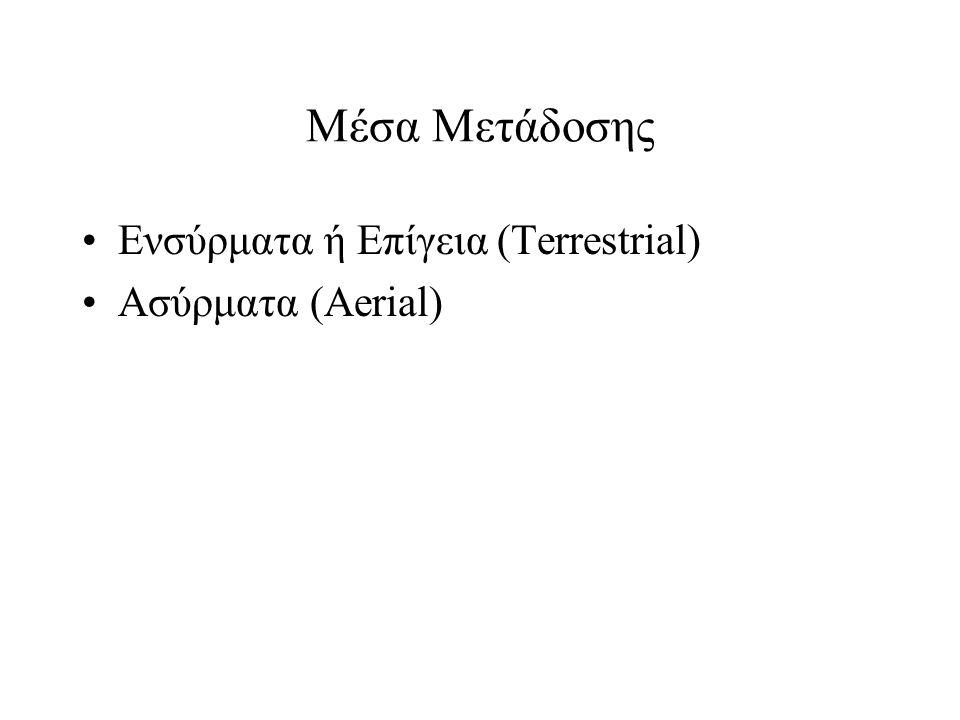 Μέσα Μετάδοσης •Ενσύρματα ή Επίγεια (Terrestrial) •Ασύρματα (Aerial)