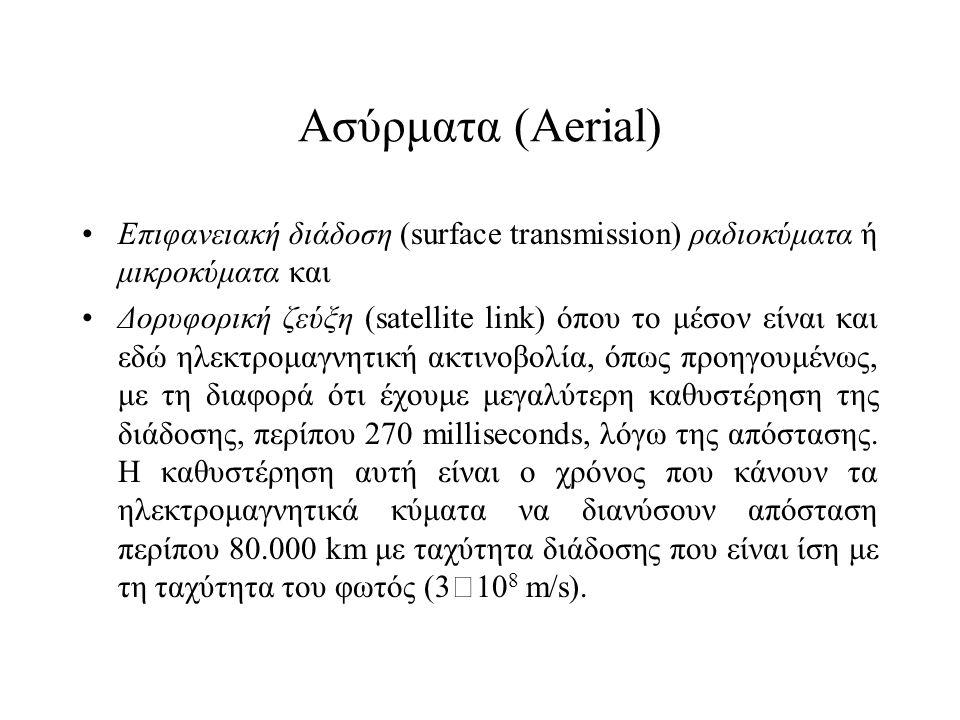 Ασύρματα (Aerial) •Επιφανειακή διάδοση (surface transmission) ραδιοκύματα ή μικροκύματα και •Δορυφορική ζεύξη (satellite link) όπου το μέσον είναι και