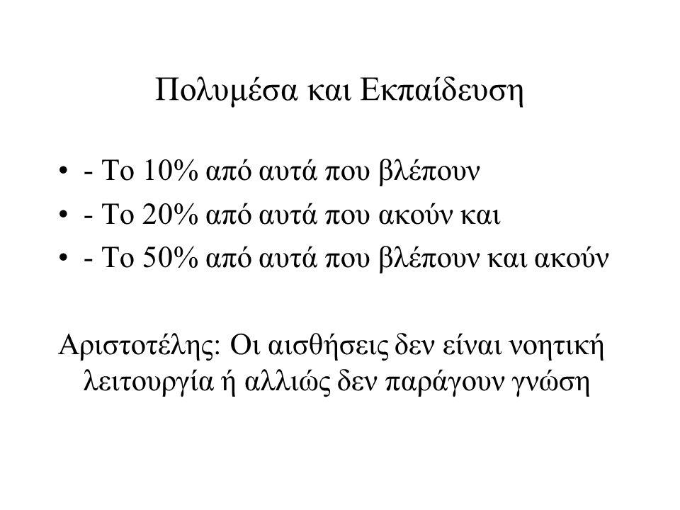Πολυμέσα και Εκπαίδευση •- Το 10% από αυτά που βλέπουν •- Το 20% από αυτά που ακούν και •- Το 50% από αυτά που βλέπουν και ακούν Αριστοτέλης: Οι αισθή