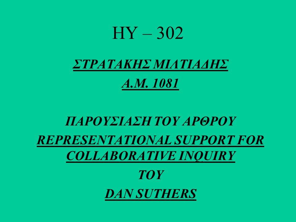 HY – 302 ΣΤΡΑΤΑΚΗΣ ΜΙΛΤΙΑΔΗΣ Α.Μ. 1081 ΠΑΡΟΥΣΙΑΣΗ ΤΟΥ ΑΡΘΡΟΥ REPRESENTATIONAL SUPPORT FOR COLLABORATIVE INQUIRY ΤΟΥ DAN SUTHERS